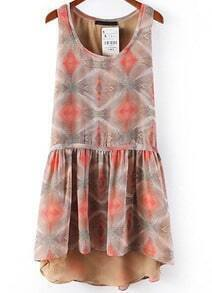 Red Sleeveless Diamond Print Double Layers Dress