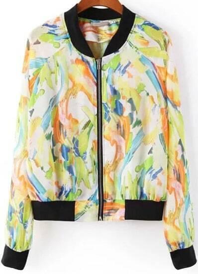 Yellow Long Sleeve Floral Chiffon Jacket