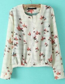 White Long Sleeve Birds Print Crop Jacket