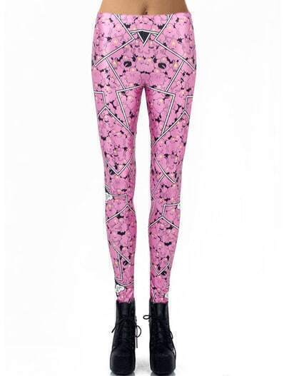 Pink Skinny Cloud Print Leggings