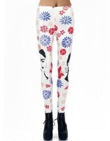 White Floral Avatar Print Leggings