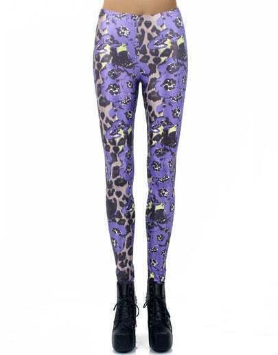 Purple Elastic Leopard Leggings