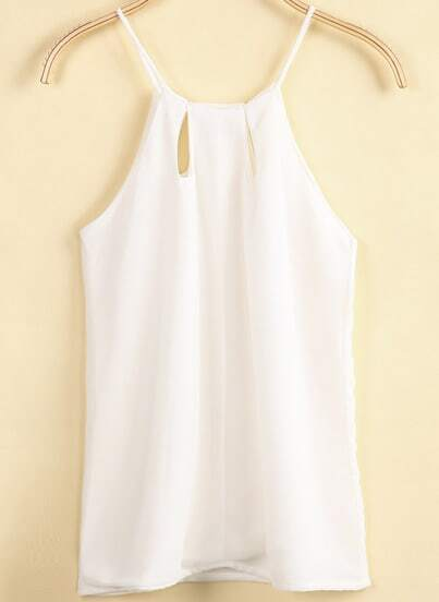 White Spaghetti Strap Hollow Chiffon Vest