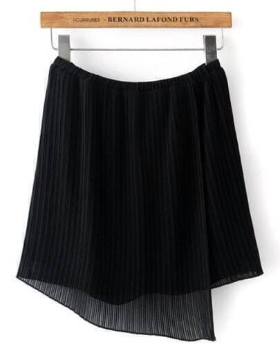 Black Elastic Waist Asymmetrical Pleated Skirt
