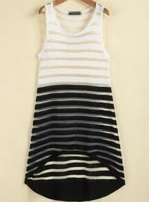 Black White Striped Sleeveless Sheer Dress