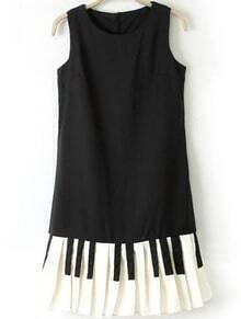 Black Sleeveless Contrast Keys Print Chiffon Dress