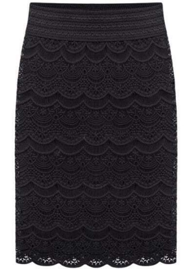 Black Embroidered Lace Bodycon Skirt