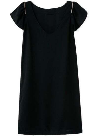 Black V Neck Short Sleeve Zipper Ruffle Dress