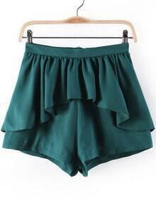 Green Ruffle Skirt Shorts