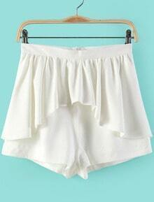 White Ruffle Skirt Shorts