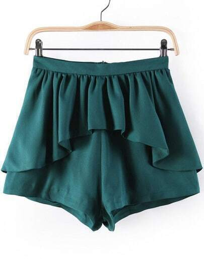 Green Ruffle Skirt Shorts