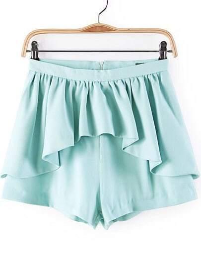 Light Blue Ruffle Skirt Shorts