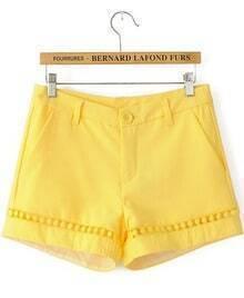 Yellow Mid Waist Hollow Straight Shorts