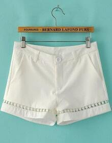 White Mid Waist Hollow Straight Shorts