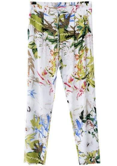 White Pockets Floral Loose Pant