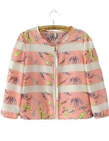 Pink Half Sleeve Striped Floral Crop Jacket