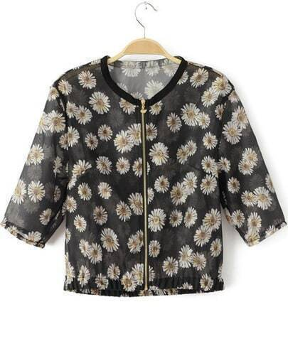 Black Half Sleeve Daisy Print Crop Jacket
