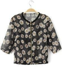 Black Half Sleeve Daisy Print Crop Jacket