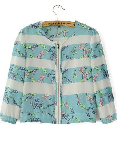 Blue Half Sleeve Striped Floral Crop Jacket