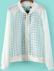 White Long Sleeve Houndstooth Organza Jacket