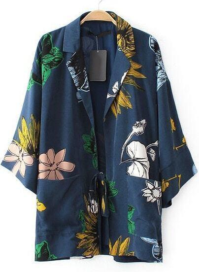 Blue Notch Lapel Floral Loose Coat