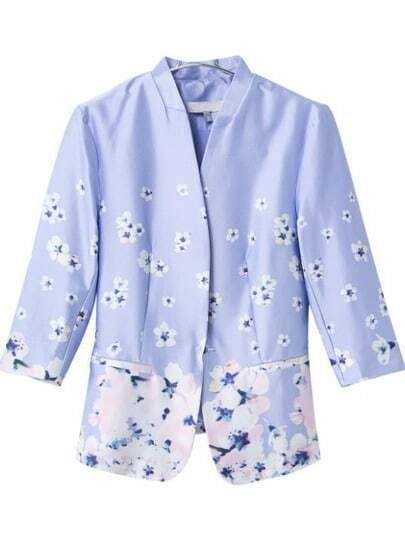 Purple Stand Collar Floral Fitted Coat