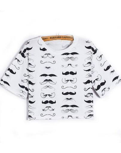 White Short Sleeve Beard Print Crop T-Shirt