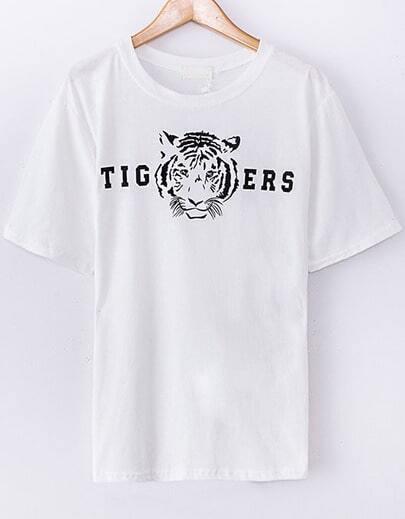 T-Shirt lâche motif tigre -blanc