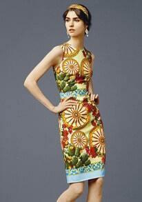 Yellow Sleeveless Wheel Print Tank Dress