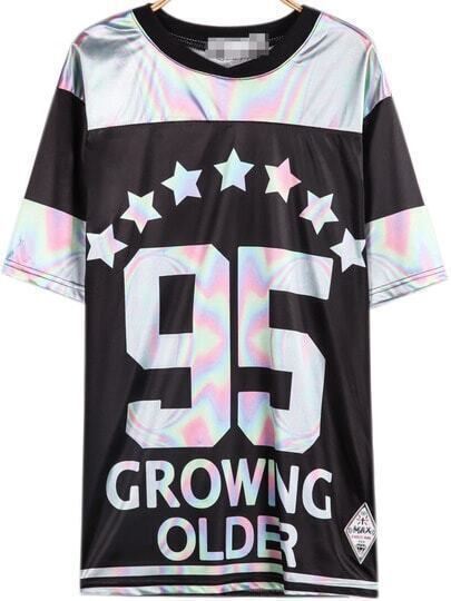 Black Short Sleeve Stars 95 Print T-Shirt