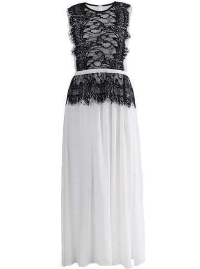 White Sleeveless Lace Contrast Chiffon Pleated Dress