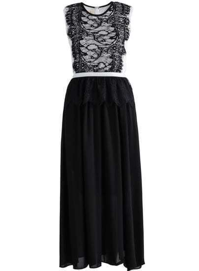 Black Sleeveless Lace Contrast Chiffon Pleated Dress