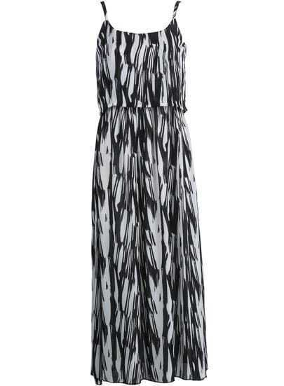 Black Spaghetti Strap Graffiti Print Chiffon Dress