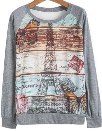 Grey Long Sleeve Pylon Print Loose T-Shirt