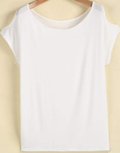 White Off the Shoulder Short Sleeve Modal T-Shirt