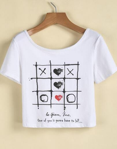 White Short Sleeve Plaid Print Crop T-Shirt