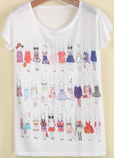 White Short Sleeve Rabbit Print T-Shirt