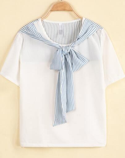 White Short Sleeve Striped Cravat Chiffon Blouse