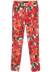 Red Mid Waist Floral Pencil Pant