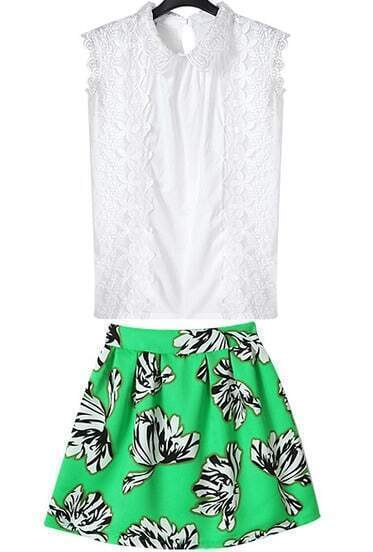 White Sleeveless Embroidered Top With Green Floral Skirt