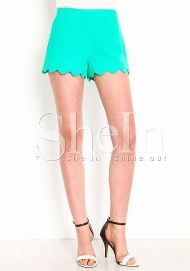 Green Scalloped Woven Shorts