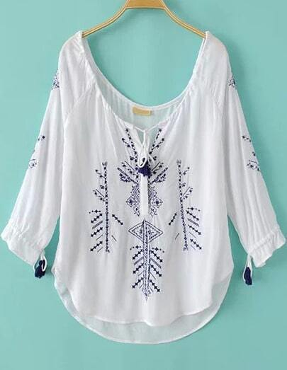 White Long Sleeve Embroidered Drawstring Blouse