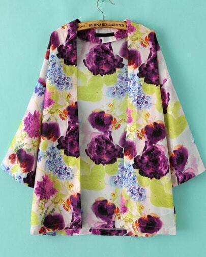 Purple Long Sleeve Vintage Floral Loose Blouse