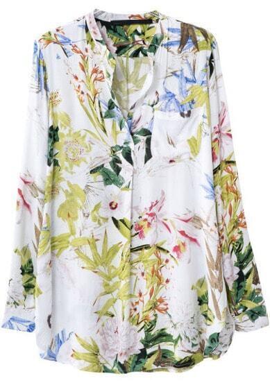 White V Neck Long Sleeve Floral Pocket Blouse