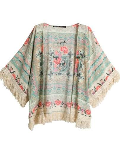 Apricot Half Sleeve Floral Tassel Cape Top