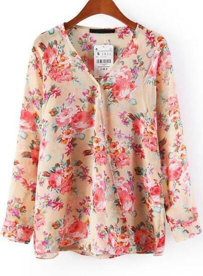 Pink V Neck Long Sleeve Floral Chiffon Blouse
