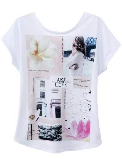 White Short Sleeve Frame Print Backless T-Shirt