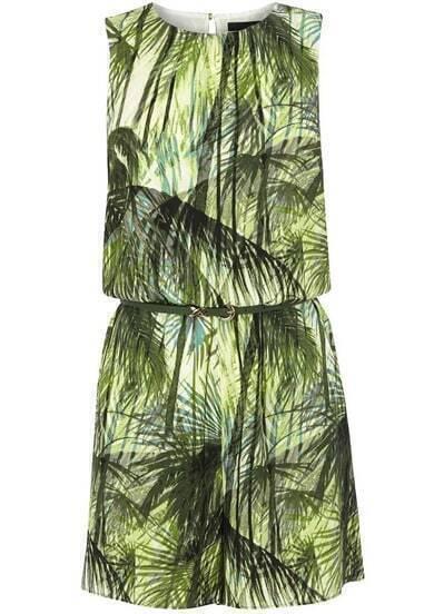 Green Sleeveless Jungle Print Jumpsuit