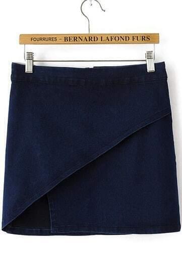 Navy Asymmetrical Bodycon Denim Skirt
