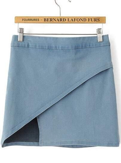 Blue Asymmetrical Bodycon Denim Skirt